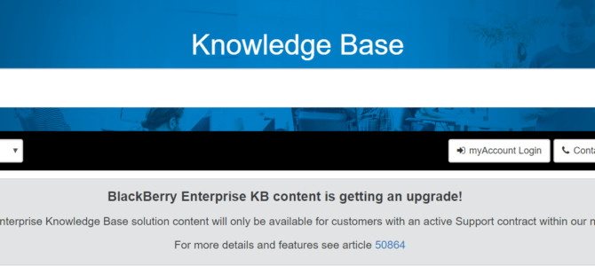 BlackBerry Enterprise KB wird bald nur noch mit Support Vertrag zugänglich sein