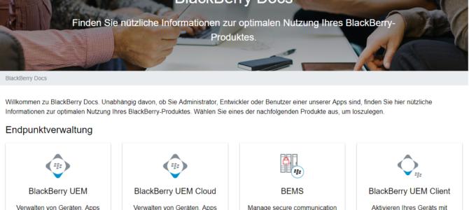 Neue BlackBerry Dokumentenseite